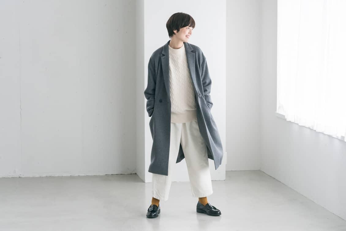 【2019年10月頃入荷予定】「冬のお出かけも私らしく」3WAYアレンジ襟のかろやかチェスターコート(グレー)/KURASHI&Trips PUBLISHINGの商品写真