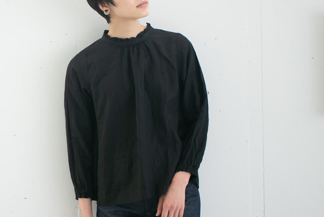 【次回入荷未定】nest Robe/ネストローブ/2WAYリネンブラウス(ブラック)の商品写真