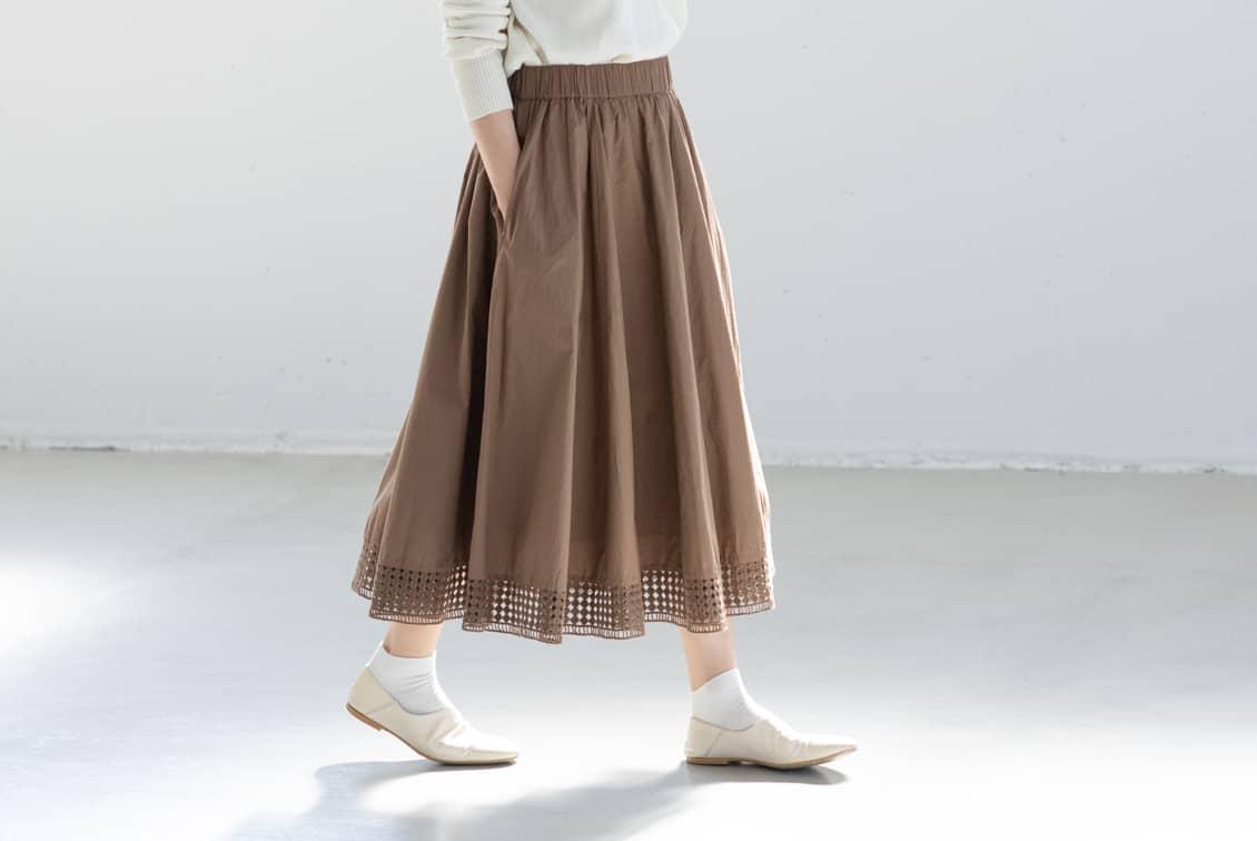 utilite/ユティリテ/刺繍レーススカート(ベージュ)の商品写真