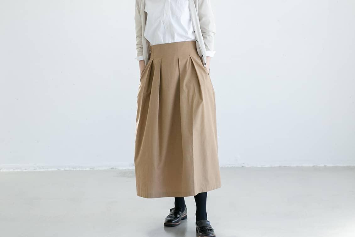 数量限定!「楽してきちんと、3通り」着回しよくばりロングスカート(ベージュ)/香菜子×KURASHI&Trips PUBLISHINGの商品写真
