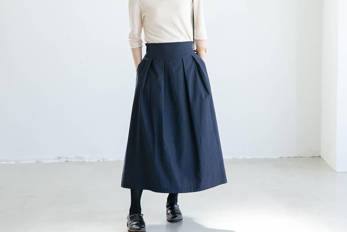 数量限定!「楽してきちんと、3通り」着回しよくばりロングスカート(ネイビー)/香菜子×KURASHI&Trips PUBLISHINGの商品写真