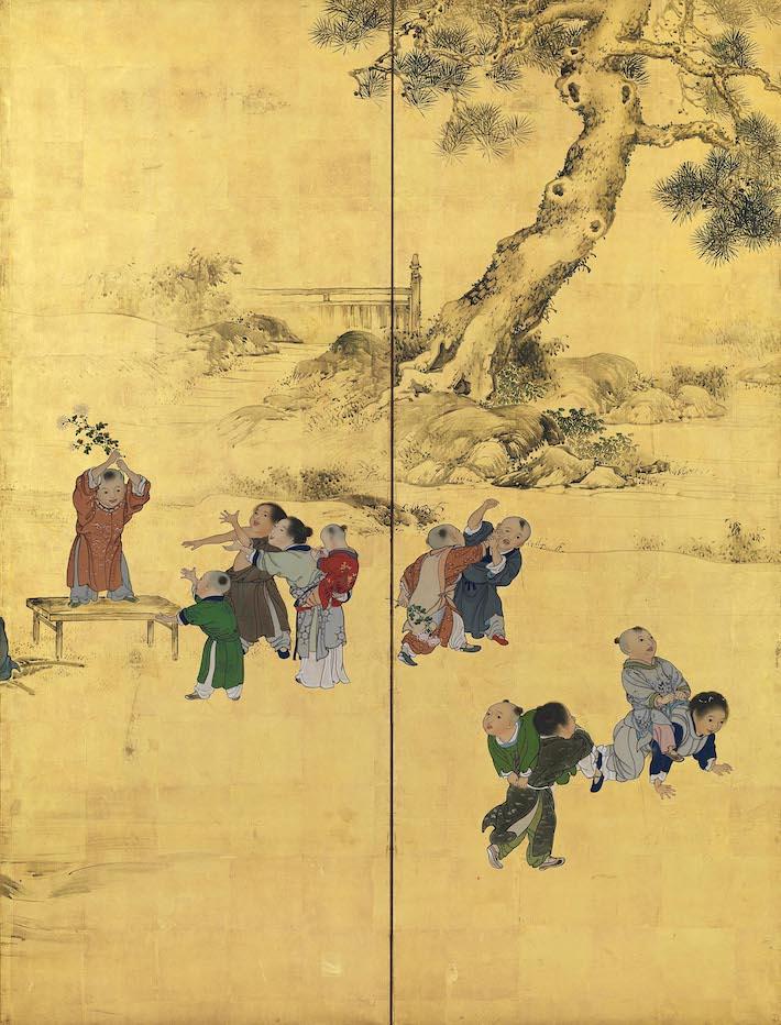 横山華山《唐子図屏風》(左隻)個人蔵