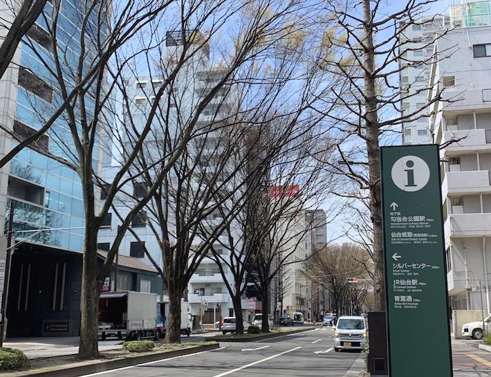 定禅寺通の東端からは、JR仙台駅へも、繁華街方面の地下鉄勾当台公園駅へも同距離の700mと徒歩圏で、アクセスがいい