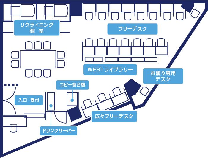 フロアマップ(画像提供:仙台自習室WEST)