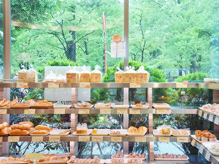 石井屋の向かい側が勝山公園。お店の大きな窓からは公園の美しい緑が眺められる