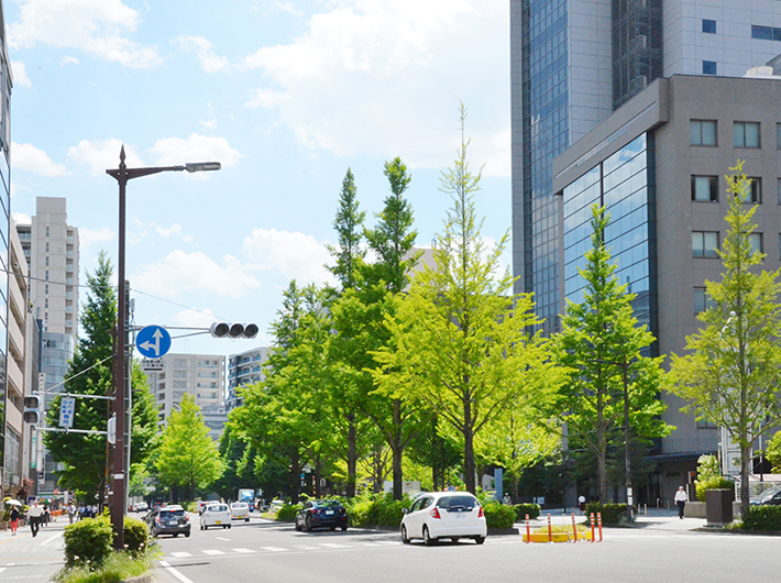 NTTドコモ東北支社のビルなどが建ち、昼間は会社員の姿も多い愛宕上杉通
