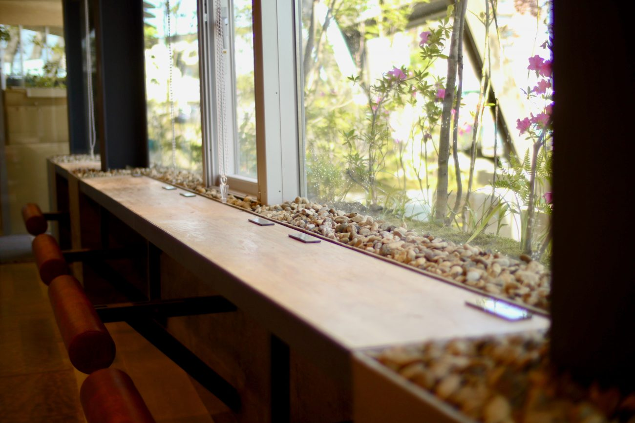 庭を目の前に眺められるカウンター席。内と外が一体化したような、開放感溢れるスペース(画像提供:イグーネ荒井)