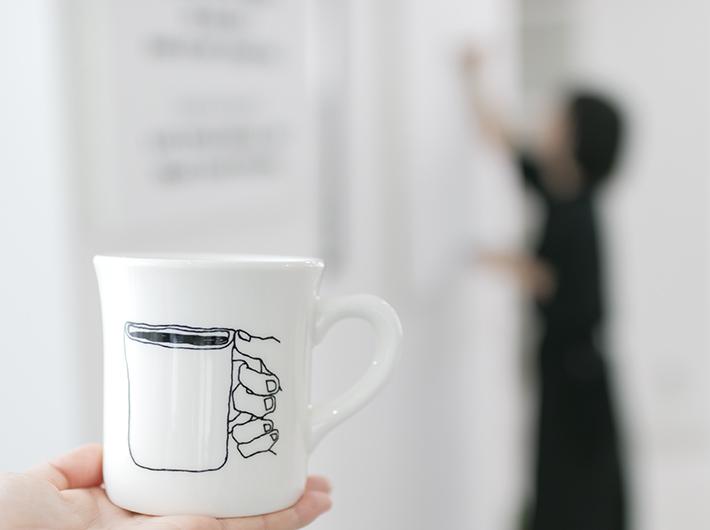 ニシクボさんオリジナルマグカップでいただくドリップコーヒー。br バリスタの野口こうたさんがローストしたブレンドがあまりに美味しくておかわり