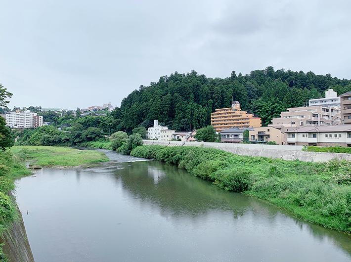 霊屋橋から眺める向山方面と広瀬川