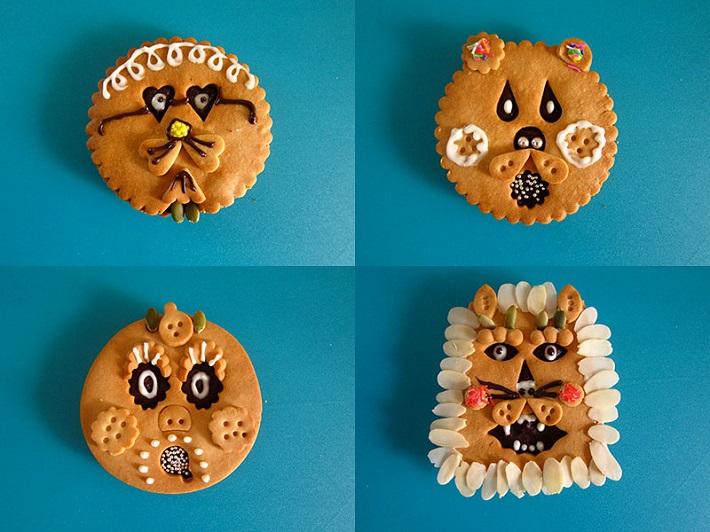 ワークショップのかおクッキーサンド。かわいい