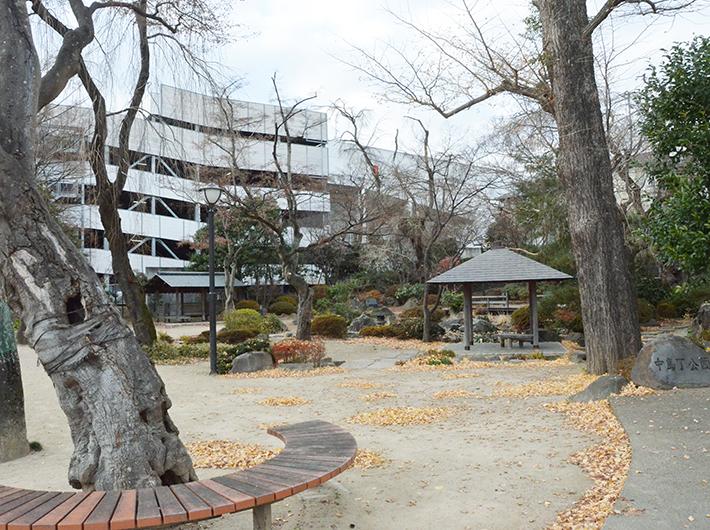 「さくらまつり」など地域イベントの開催場所にもなる、八幡杜の館の隣の中島丁公園