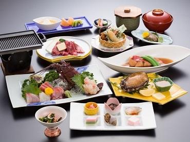 最高級食材使用の【美食三昧プラン】 「なめろう、イセエビ姿造り、鮑踊り焼、千葉県産牛鉄板焼、金目鯛の煮付」食べちゃってください!