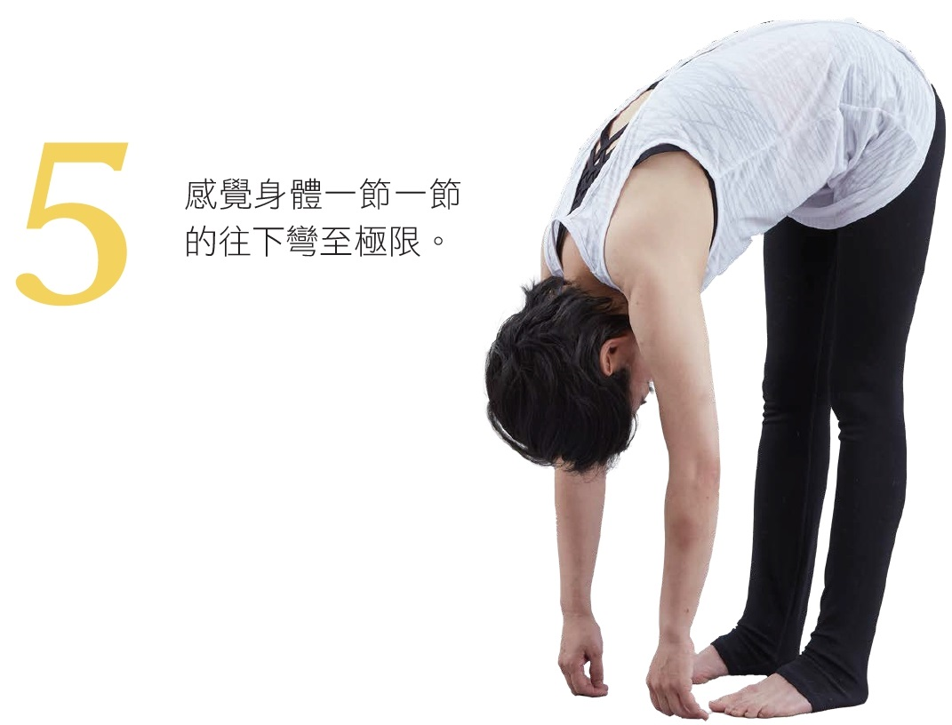5. 感覺身體一節一節的往下彎至極限。