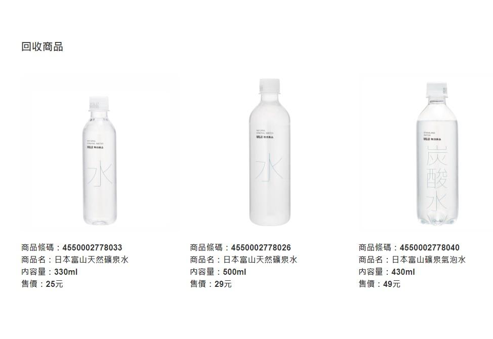 無印良品三款產品目前已下架回收。