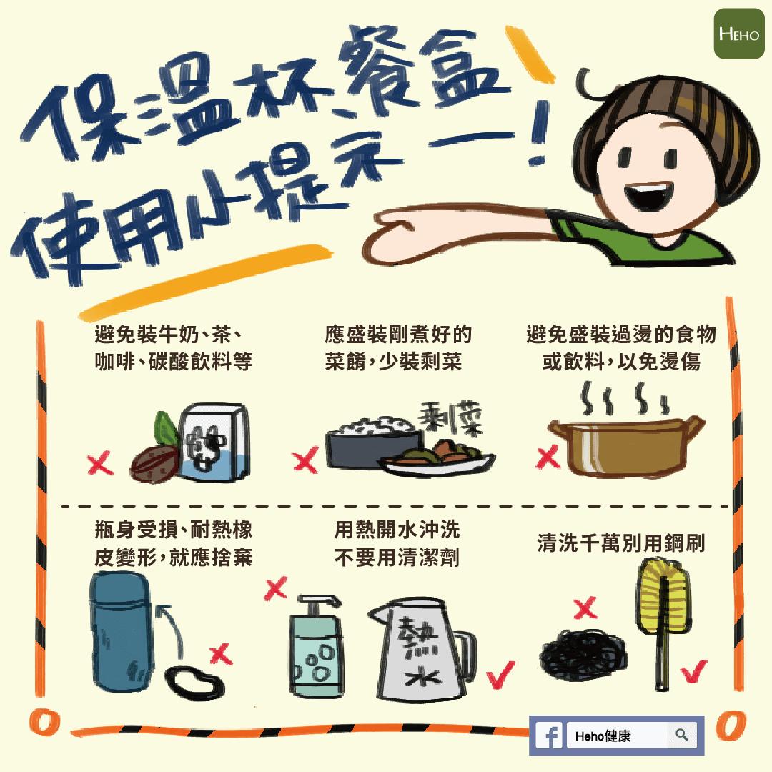 保溫杯、餐盒使用小提示。