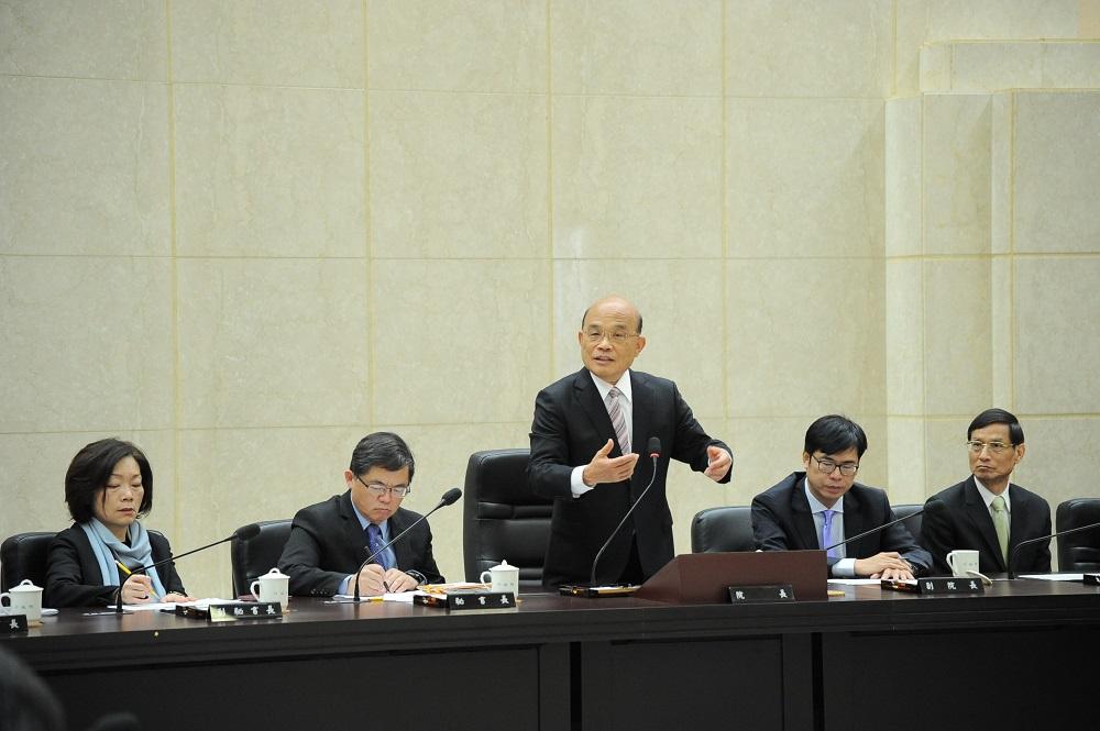 行政院長蘇貞昌今與內閣團隊召開首次行政院會。