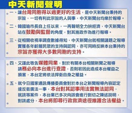 中天新聞發5點聲明回應被NCC裁罰一事。此為聲明修改前。
