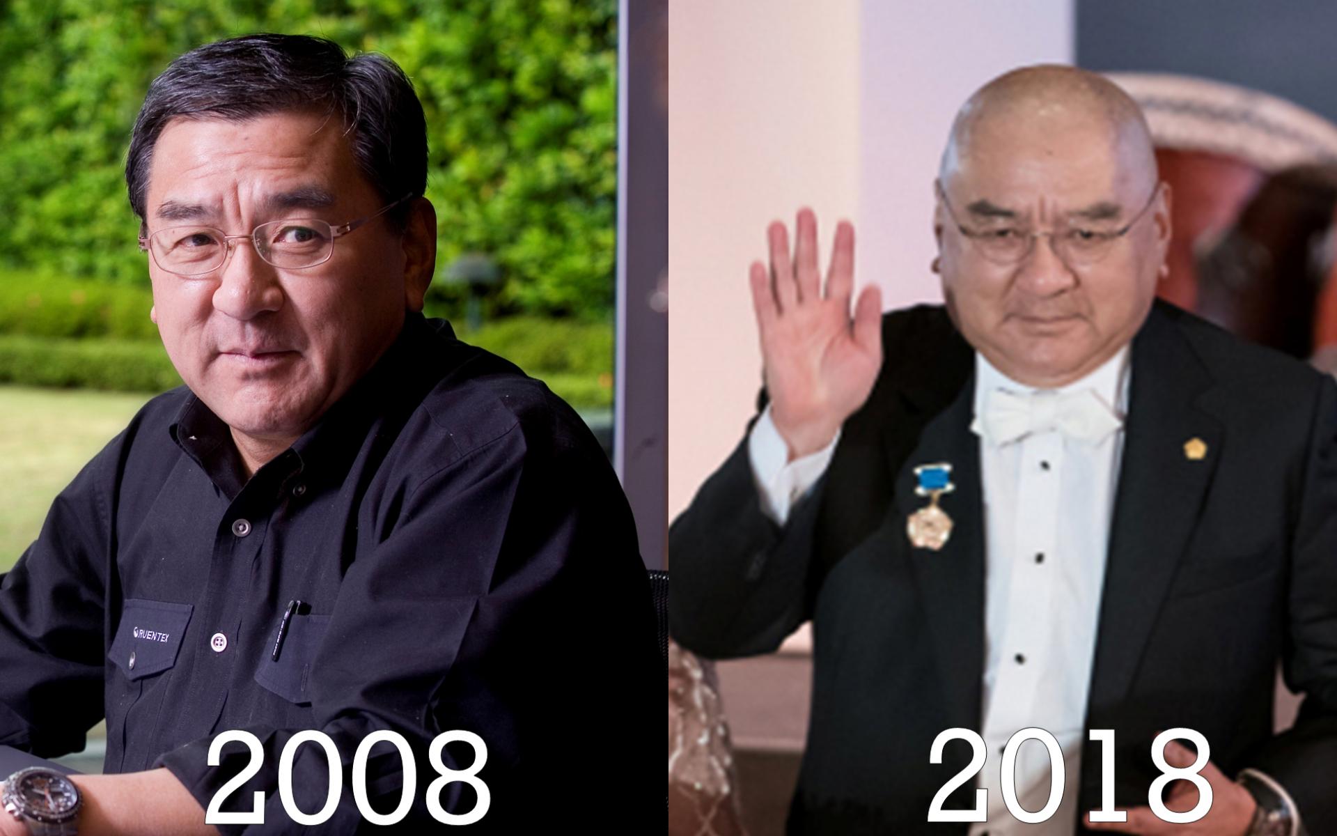 潤泰集團總裁尹衍樑10年前還留有頭髮,10年過後,留著大光頭更增添些許味道,成為明顯的特徵。