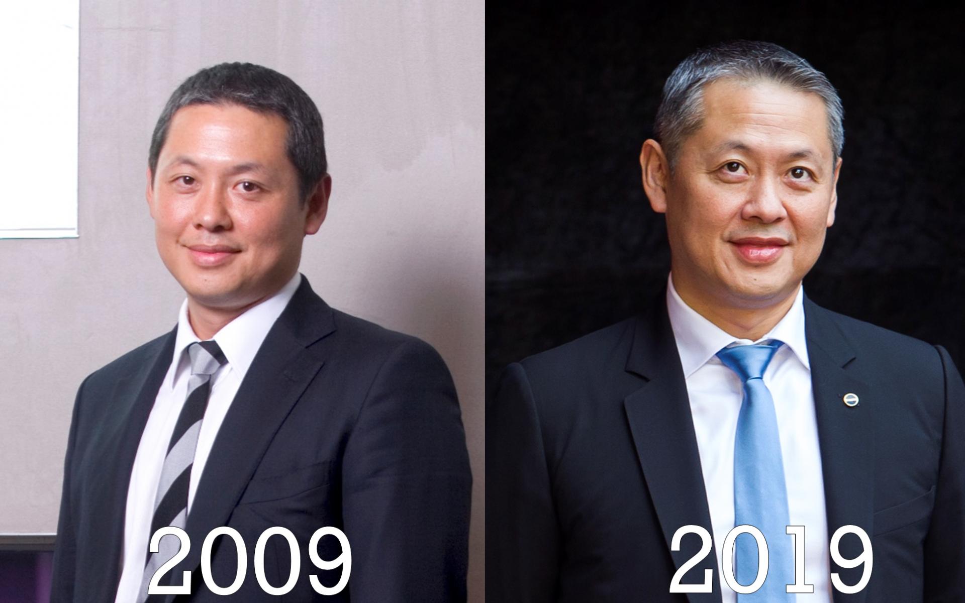 微風廣場董事長廖鎮漢10年前還略顯稚嫩,但10年過後,頭髮已有些許花白,增添不少男人味。