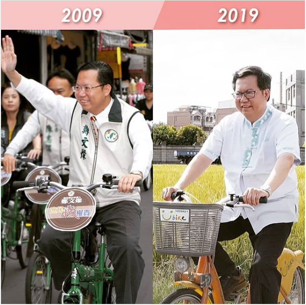 桃園市長鄭文燦的十年挑戰照,都以騎腳踏車為主題,看得出來身材圓潤不少,鄭文燦還自嘲寫道「越騎越穩重」。