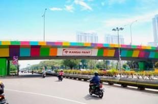 【インドネシア】関西ペイント、競技場付近の高架道路を塗装[製造](2018/08/08)