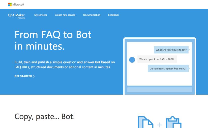 qnamaker とは microsoftの自動チャットボット会話生成サービスを試し