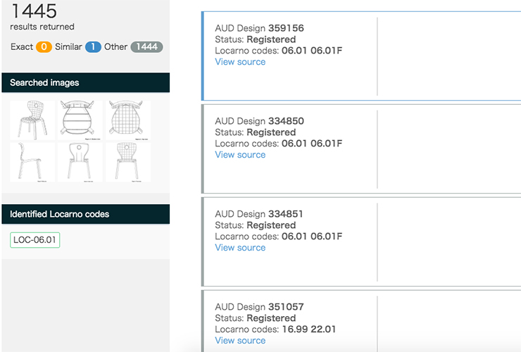 「Selected Data」にあるようなある商品のデザインの写真をアップロード すると、TrademarkVisionと同様にExact、Similar、Otherの3つに分類。