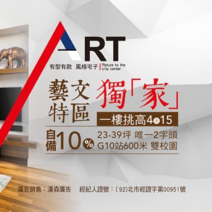 [桃園區] 鴻灃ART,即將完銷!998萬起買3房+車位