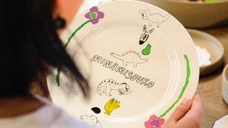 長崎県西の原「南創庫」で波佐見焼の切り絵つけ体験