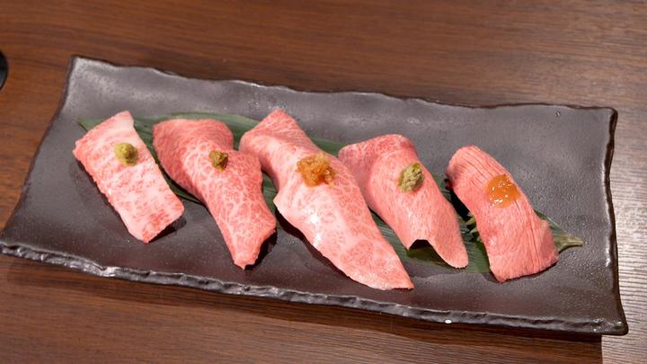 極上和牛炙り寿司(タテバラ)1人1貫サービス!