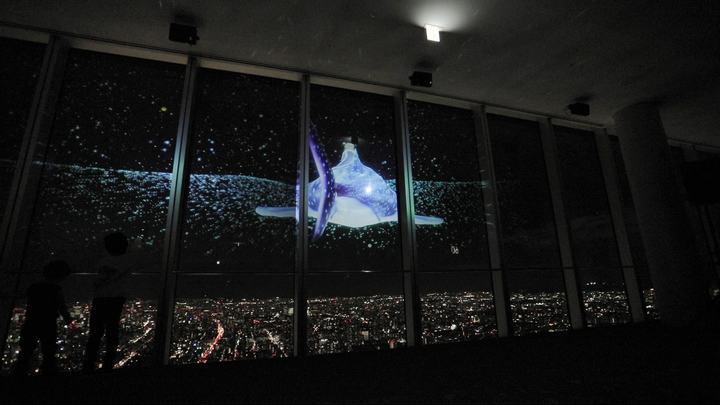 大阪の夜景とプロジェクションマッピング