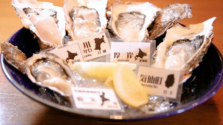 「牡蠣と魚 海宝 高田馬場店」の牡蠣5種盛