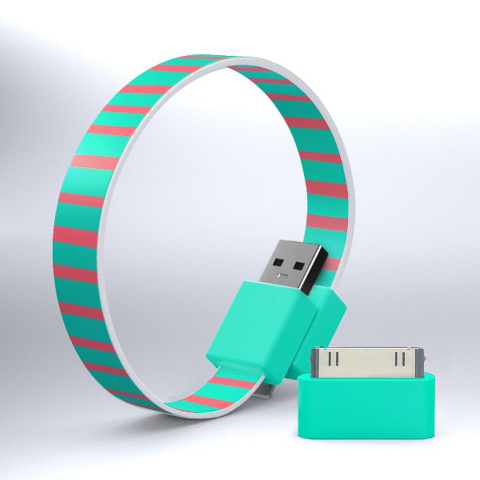 Mohzy 時尚3C設計 繽紛環型USB傳輸線-粉綠條紋   設計   Citiesocial