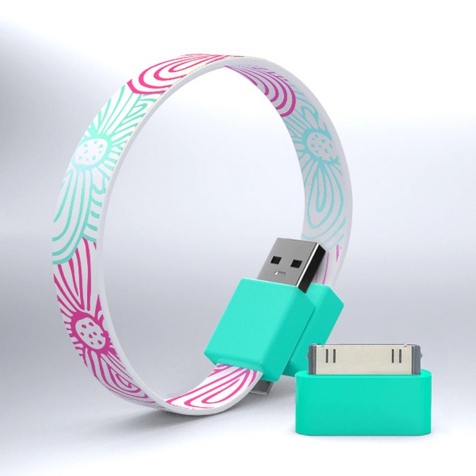 Mohzy 時尚3C設計 繽紛環型USB傳輸線-花朵條紋   設計   Citiesocial