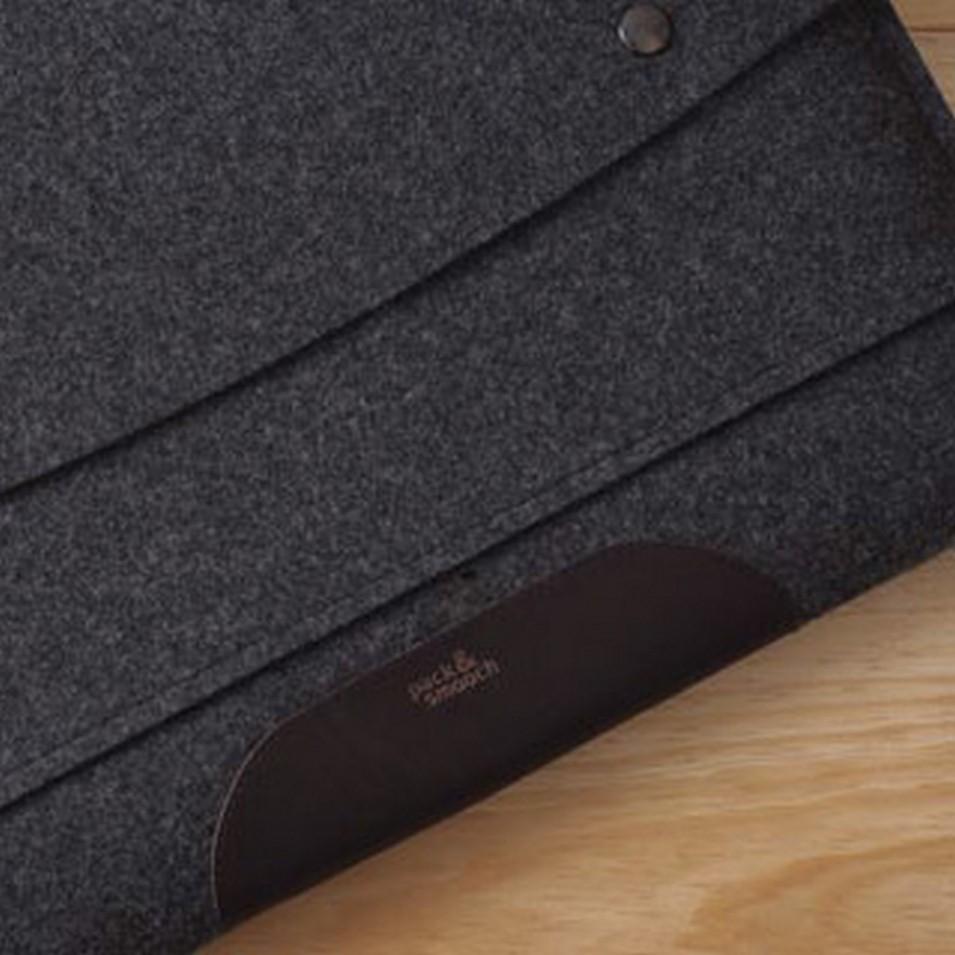 Pack&Smooch 德國時尚包 15吋MacBook Pro 手作羊毛氈保護內袋(碳黑羊毛/深棕皮革) | 設計 | Citiesocial