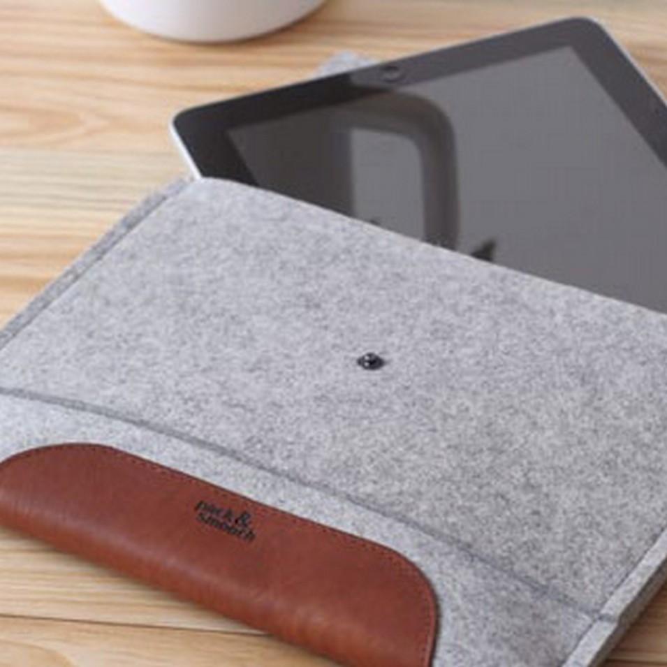 Pack&Smooch 德國時尚包 Pack & Smooch iPad 手作羊毛氈保護內袋(石灰羊毛/淺棕皮革) | 設計 | Citiesocial