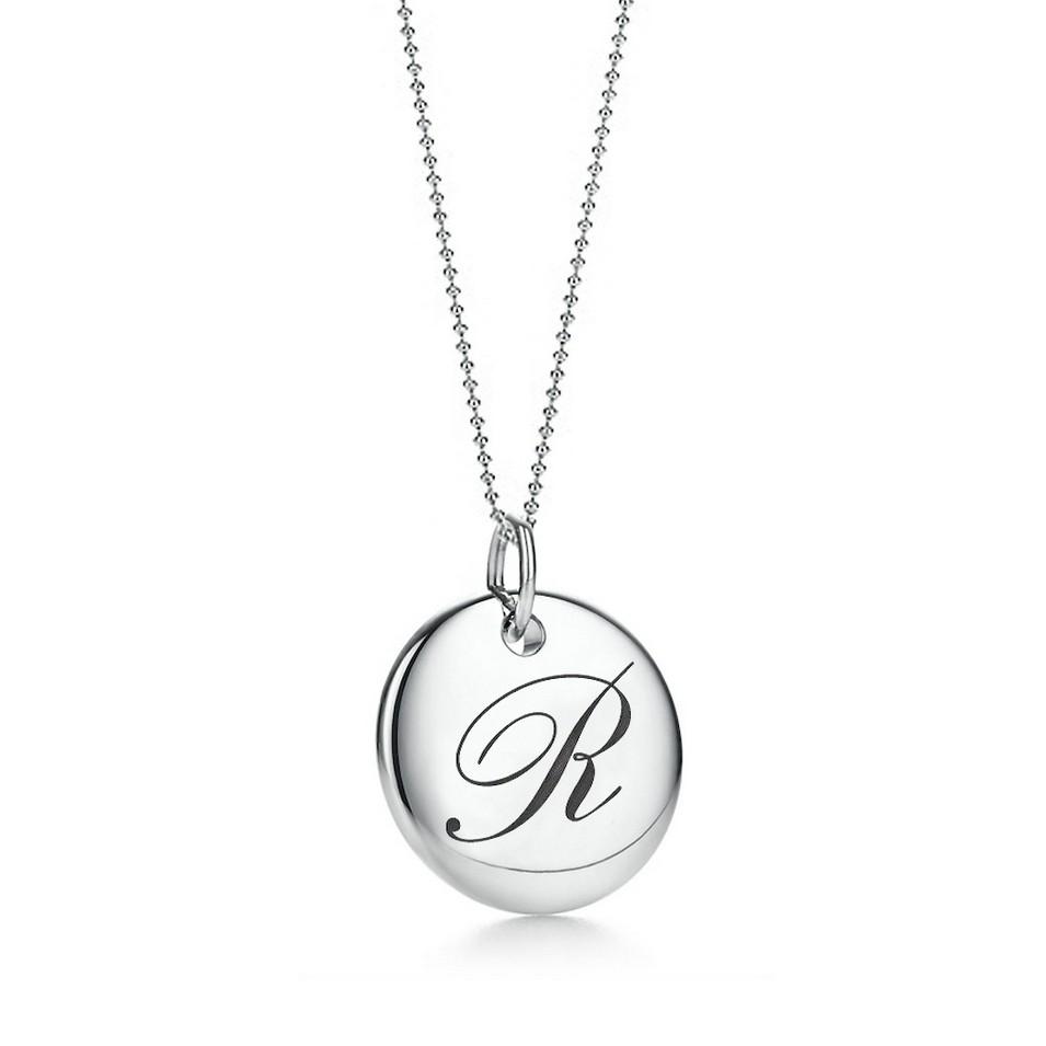 Truney Jewellery 創意銀飾 古典英文字母吊牌鍊(R)(黑字/白字) | 設計 | Citiesocial
