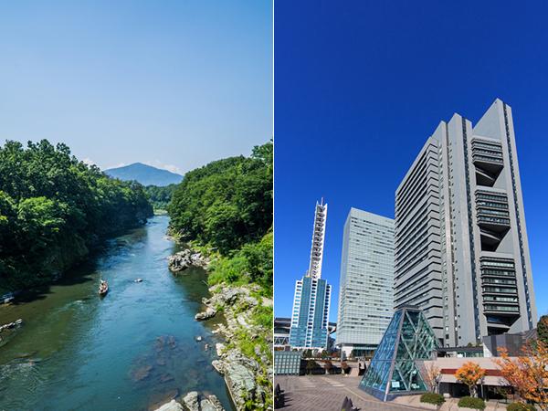写真左:秩父 長瀞ライン下り/写真右:さいたま新都心高層ビル群