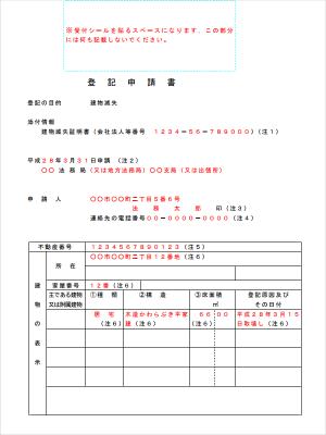 建物滅失登記申請書の記入例(参照:法務局 不動産登記の申請
