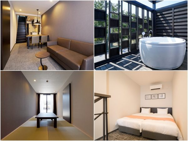 A l'intérieur du chalet. Il y a un total de 11 chambres de style occidental (4 peuvent être des animaux de compagnie) et 2 chambres de style japonais. Une chambre de style japonais peut accueillir plus de personnes. </br> Le premier étage a un salon, une cuisine, une baignoire et des toilettes, et le deuxième étage a un lit et un jacuzzi privé sur le balcon. </br> Comparé à l'impact de l'extérieur, l'intérieur est