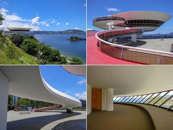 リオデジャネイロ近郊にあるニテロイ現代美術館(1996)。大きくしなるような曲線を描くスロープを上って入り口に至る。右下の写真が海を見下ろす窓(以下、撮影はすべて倉方俊輔)