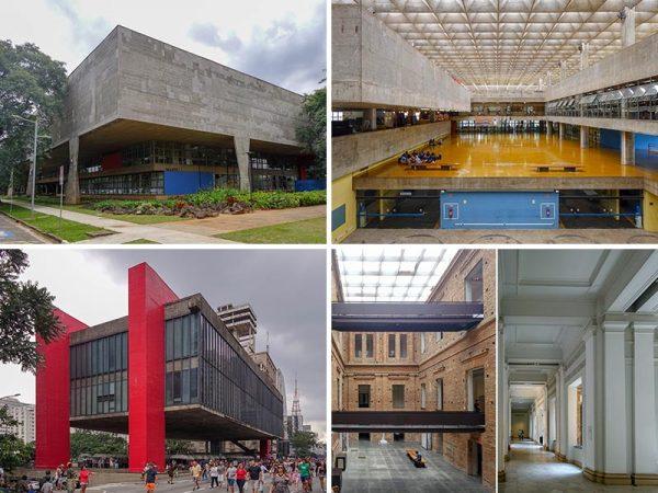 上2点/サンパウロ大学建築学科棟(1961)左下/サンパウロ美術館(1968)右下2点/州立ピナコテッカ美術館(1905/1993)