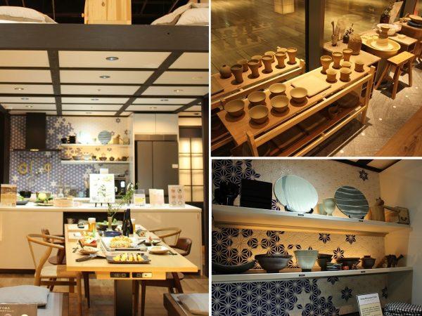 """左/オープンキッチンにしたLDKは、""""妻""""の夢である料理教室ができる料理スタジオになるイメージ。右上/""""夫""""の夢の実現例として陶芸アトリエを設けた。右下/陶芸作品を並べたキッチンのオープンシェルフ。ギャラリーのようでもあり、民泊ゲストには和の盛り付けで食事を楽しんでもらうという提案も"""