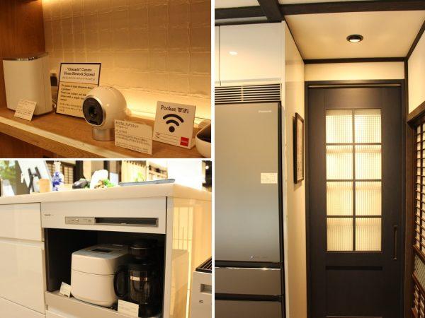 左上/民泊のゲストと連絡をとる手段に活用できる「おはなしカメラ」。左下/パナソニックの家電製品が随所に。パナソニックセンター大阪の地下1階は、キッチン、バス・洗面・トイレ、内装など、住まいの最新設備のショールームとなっている。右/室内ドアもパナソニックの製品。こちらは「クラフトレーベル」というシリーズで、セルフペイントで自分好みに仕上げられる