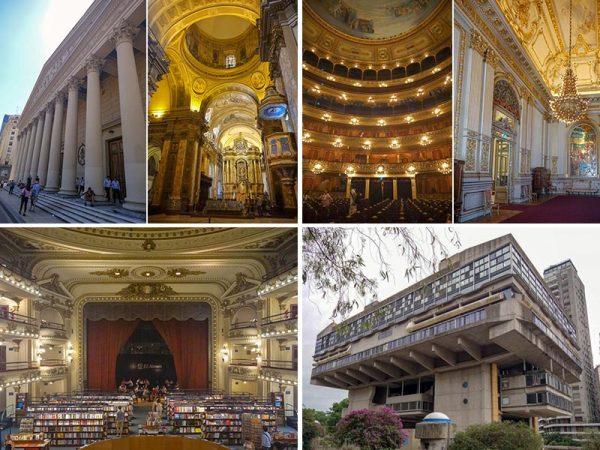 左上2点/メトロポリタン大聖堂(1827)右上2点/コロン劇場(1827)左下/エル・アテネオ書店(1919)右下/アルゼンチン国立図書館(1962〜92)