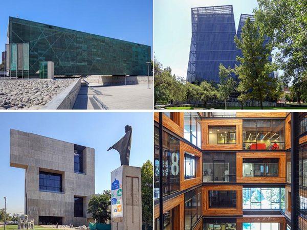 左上がメモリー・ミュージアム(2007)、他3点はチリ・カトリック大学。右上がシャム・タワー(2005)、下2点がイノヴェーション・センター(2014)