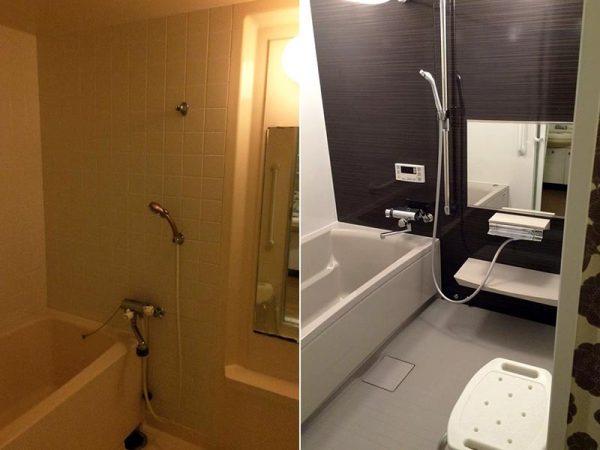 改修前(左)と改修後(右)の浴室。手すり付きシャワーなどが設けられた