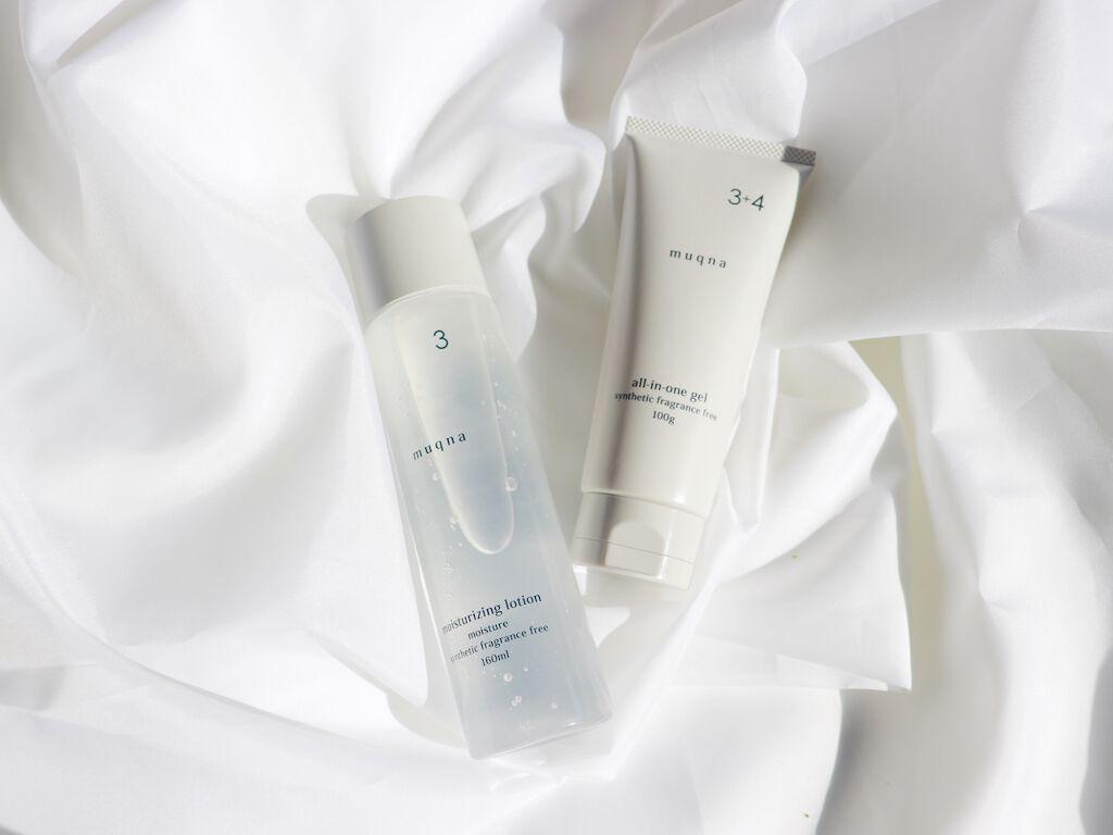 ▲(左から)化粧水、オールインワンジェル状クリーム