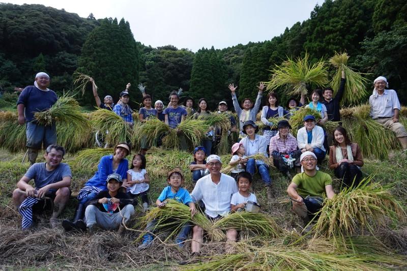 棚田トラスト参加者たちとの稲刈り。自然に感謝する満たされる時間。