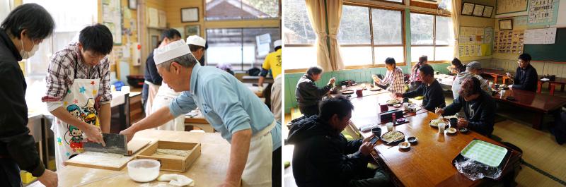 蕎麦打ち体験教室「もみの郷会所」は体育館だった場所を活用しています。蕎麦打ち体験で打った蕎麦は、後で試食ができます。